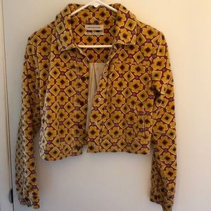 Corduroy floral  light weight cropped jacket